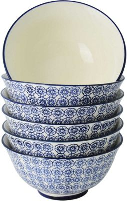 Nicola Spring Patterned Cereal Bowls - 152mm - Blue Flower Print Design - x6