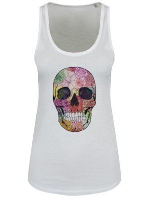 Verdant Skull Floaty Tank Women's Vest, White