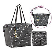 Clevamama Initials Collection Hannah Asphalt Tote Baby Changing Bag & Mat