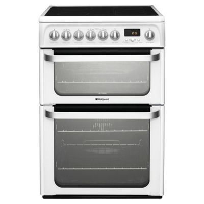 Hotpoint Electric Cooker with Electric Grill and Ceramic Hob, HUE62P S - White