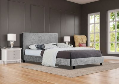Comfy Living 4ft6 Double Crushed Velvet Bed Frame in Silver with 1000 Pocket Damask Mattress