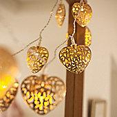 10 Gold Filigree Heart Battery LED Fairy Lights