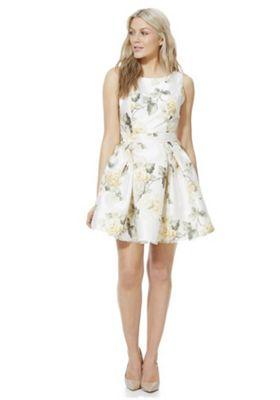 Mela London Floral and Leaf Print Prom Dress Cream 8