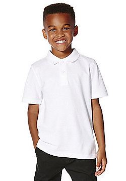 F&F School 5 Pack of Boys Polo Shirts with As New Technology - White