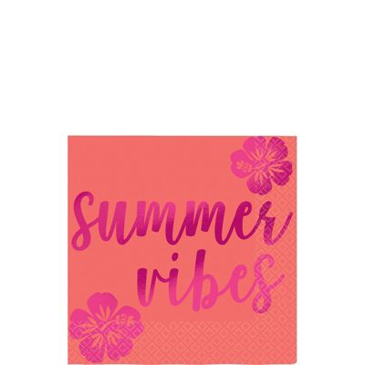 Aloha Summer Vibes Cocktail Napkin - 25cm Beverage Napkin