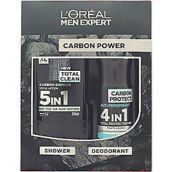 L'Oreal Paris Men Expert The Carbon Power Gift Set 300ml 5in1 Shower Gel + 150ml Anti-Perspirant Spray