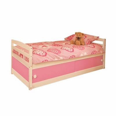Comfy Living 3ft Single Children's Slide Storage Cabin Bed with Pink Slide Storage with Damask Sprung Mattress