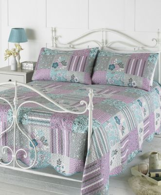 Country Club Embossed Bedspread Set Evie Lilac
