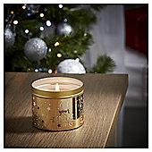 Tesco Christmas Golden Amber Tin Candle