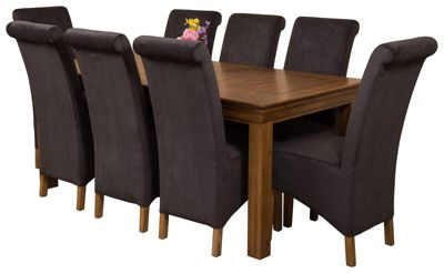 French Rustic 180cm Solid Oak Dining Set Table + 8 Black Fabric Chairs