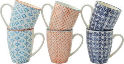 Nicola Spring Patterned Mugs - 360ml (12.7oz) - 3 Designs - Box Of 6