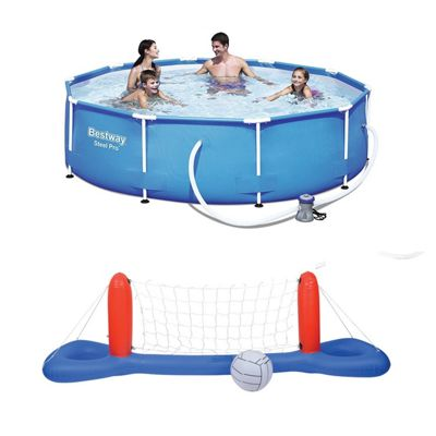 Bestway 10 Ft Steel Pro Frame Pool & Volleyball / Basketball Set Bundle