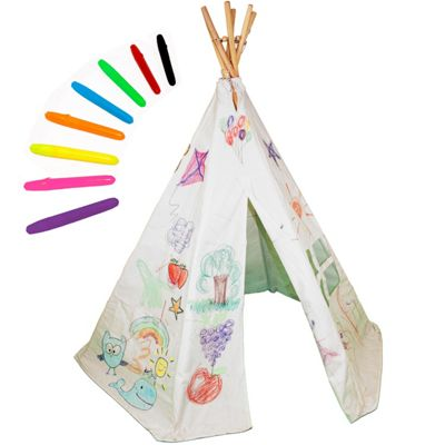 Decorate Your Own Teepee Play Tent with Wash-Out Pens, Cotton Tipi Wigwam for Children