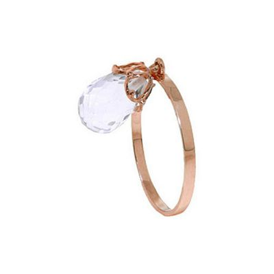 QP Jewellers 3.0ct White Topaz Briolette Crown Ring in 14K Rose Gold - Size N