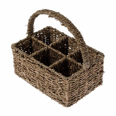 Homescapes Natural Seagrass Cutlery and Glass Divider Basket with 6 Compartments