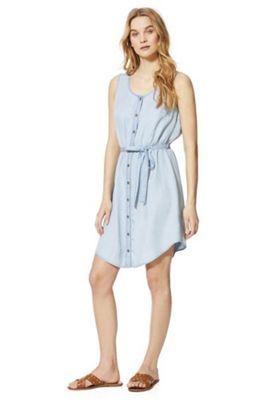 F&F Tencel® Sleeveless Shirt Dress Light Wash 22