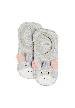 F&F Unicorn Cosy Socks - Grey