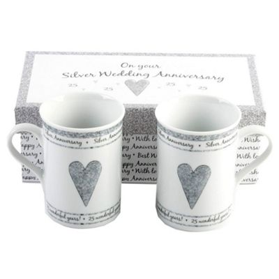 Beautifully Designed 25th Silver Anniversary Mug Set with Matching Gift Box