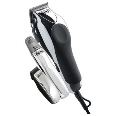 Wahl 79524/810 Mens Deluxe ChromePro Professional Haircutting Clippers, Hair Trimmer and Scissor Kit- Silver