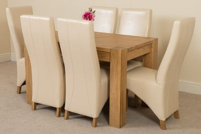 Kuba Chunky Solid Oak 125 cm Dining Table with 6 Ivory Lola Leather Chairs