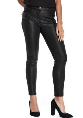 Wallis Petite Coated Skinny Jeans 12 Black