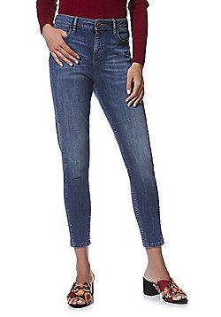 F&F Studded Seam Mid Rise Skinny Jeans - Mid wash