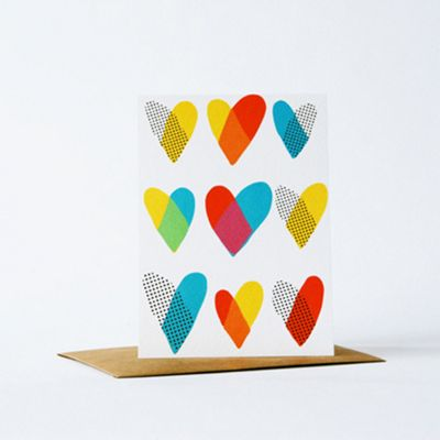 Yellow Owl Workshop Card - Hearts