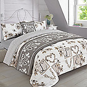 Complete Bed in a Bag Duvet Set - Vintage Millie Hearts - Natural