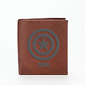 Marvel Personalised Leather Wallet - Captain America
