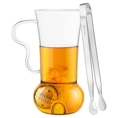 Final Touch Loose Tea Infusion Roller Infuser Set Includes Mug 400ml, Tongs & Infusion Ball Infuser