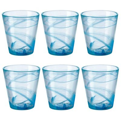 Bormioli Rocco Capri Blue Patterned Tumbler Glasses - 370ml x6