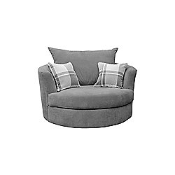 Robee Swivel Cuddle Chair Fabric Grey