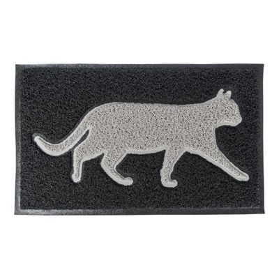 Homescapes Grey Cat Silhouette 100% Recycled Rubber Non-Slip Doormat with Black background