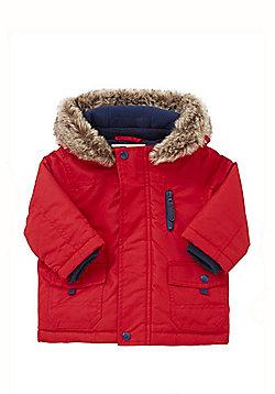 F&F Faux Fur Trim Hood Shower Resistant Parka - Red