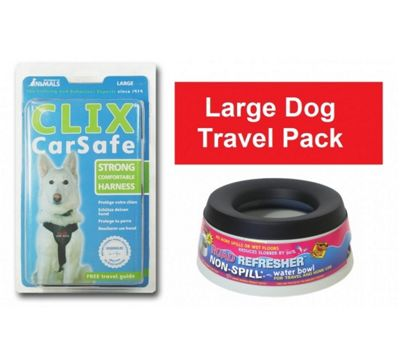 Large Dog Travel Pack - Clix Car Safe Large + Road Refresher Large