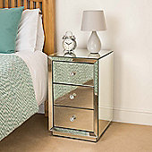 Christow 3 Drawer Mirrored Bedside Cabinet