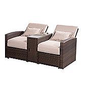 Outsunny Outdoor Garden Rattan Sofa Lounger Set Brown with Cream Cushions