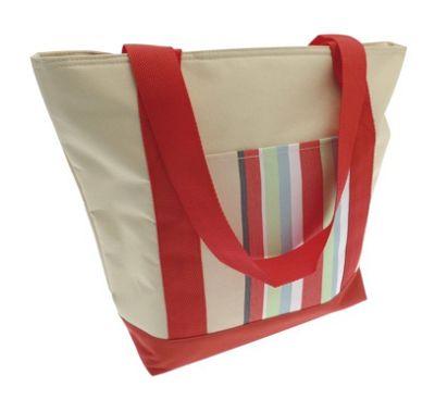 Country Club Cooler Beach Tote Bag, Cream & Multi Stripe, Red