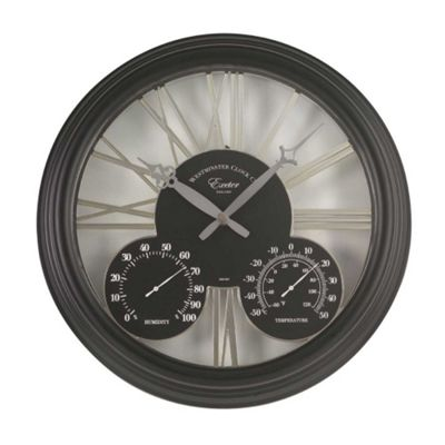 Outside In Exeter Black Wall Clock and Thermometer 15in
