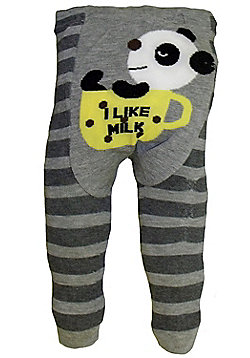 Dotty Fish Knitted Baby Leggings - Grey stripes with Panda - Grey