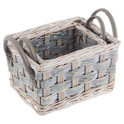 Tesco 2 Set Grey Wicker Storage Baskets  Buy Tesco 2 Set Grey Wicker Storage  Baskets. Storage Baskets Tesco