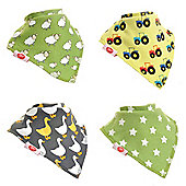 Zippy Baby Unisex Dribble Bib 4 pack Farm