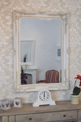 Large Antique Shabby Chic Ornate Ivory Mirror 3Ft8 X 2Ft8, 110cm X 79cm