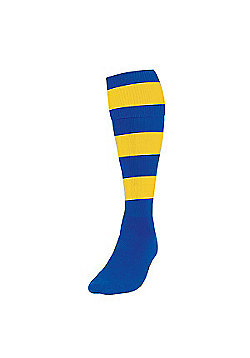 Precision Training Club Weight Stretch Nylon Hooped Football Socks - Royal & Yellow