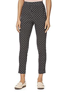 F&F Abstract Print Bengaline Skinny Trousers - Black & Multi