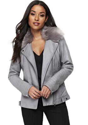 Wallis Faux Fur Collar Trim Biker Jacket Grey 14