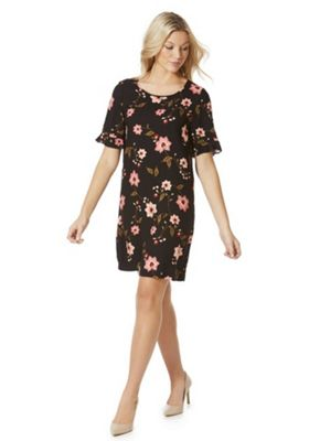 Vero Moda Floral Print Frill Sleeve Jersey Dress XS Black multi