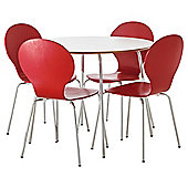 Bistro Table and Four Chair Set - Red