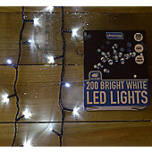 200 LED (14m) Static Outdoor Christmas Tree Lights on Green Wire in Cool White