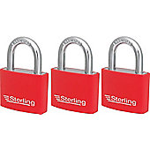 Sterling Aluminium Padlocks - 40mm Pack of 3